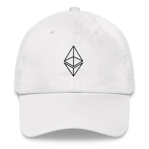 Ethereum Outline Dad Hat-White-CryptoClothe