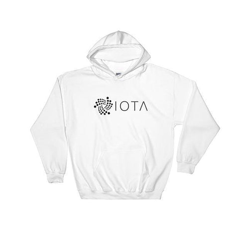 IOTA Logo + Text One Line Hoodie-White-S-CryptoClothe