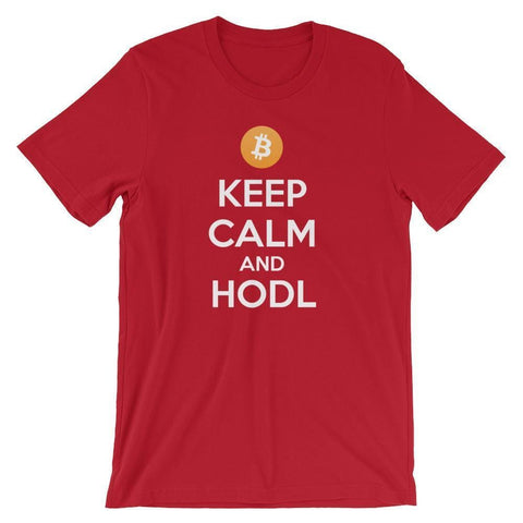 Keep Calm And HODL Bitcoin T-shirt | Unisex-Red-S-CryptoClothe