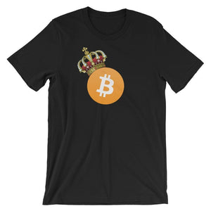 King Bitcoin T-Shirt With Crown On Logo | Unisex-Black-S-CryptoClothe