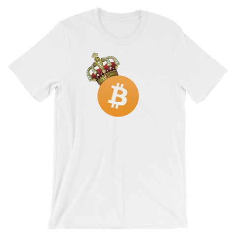 King Bitcoin T-Shirt With Crown On Logo | Unisex-White-S-CryptoClothe