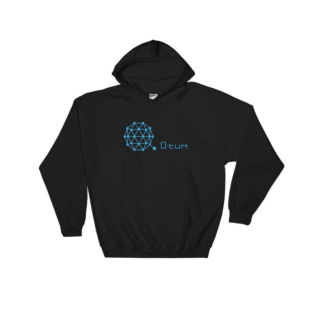 Qtum Hoodie With Logo And Text-Black-S-CryptoClothe