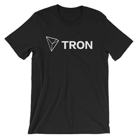 Tron T-Shirt With Logo + Text | Unisex-Black-S-CryptoClothe