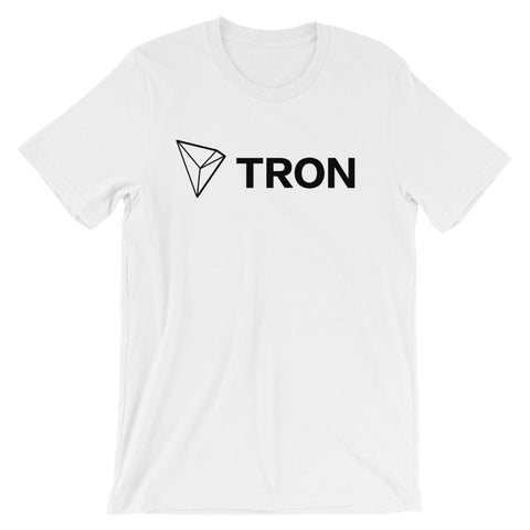 Tron T-Shirt With Logo + Text | Unisex-White-S-CryptoClothe