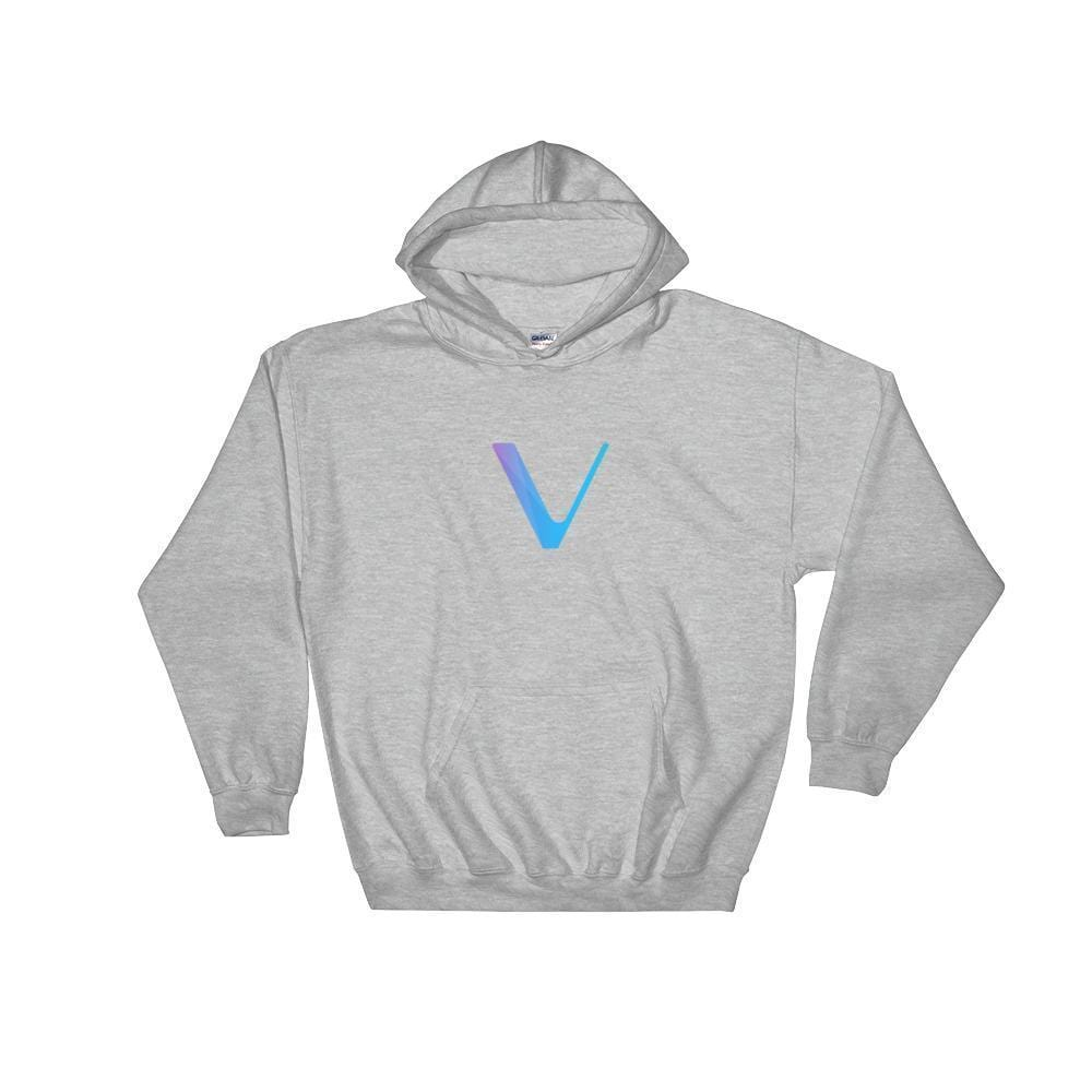 VeChain Hoodie With Logo-Sport Grey-S-CryptoClothe