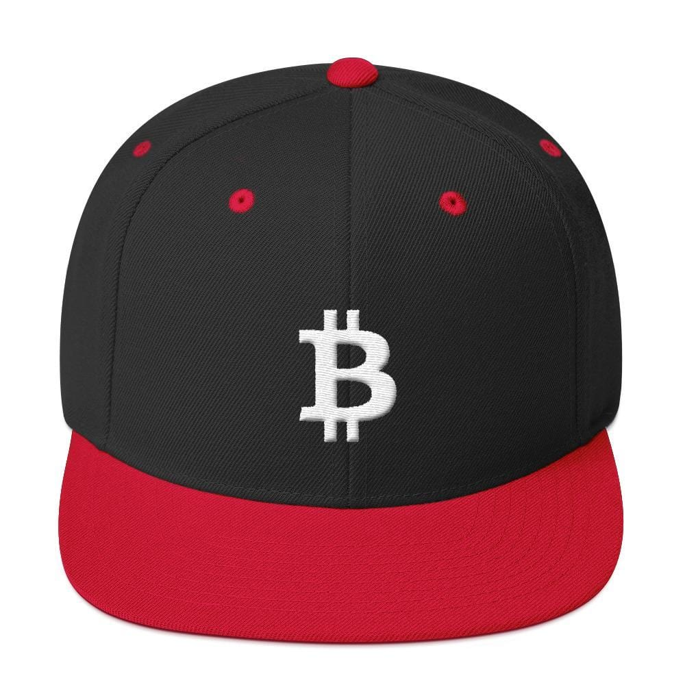White Bitcoin Symbol Snapback Hat-Black/ Red-CryptoClothe