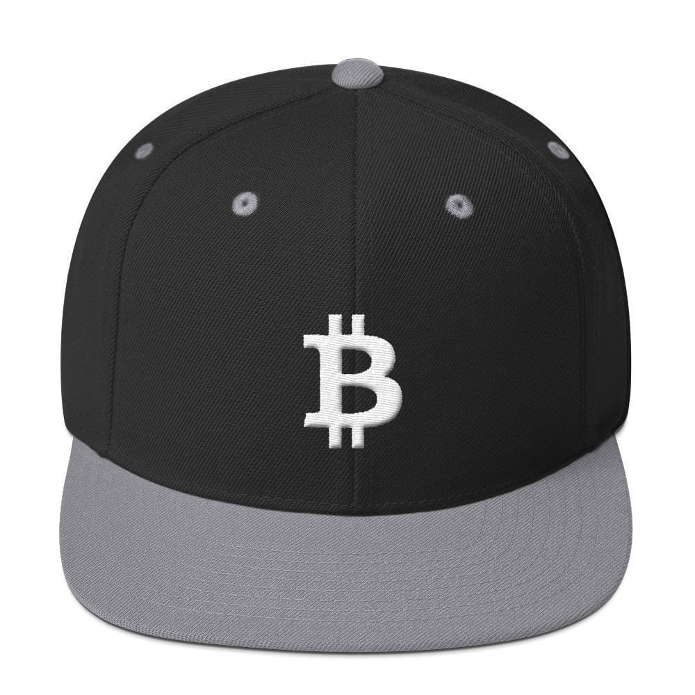 White Bitcoin Symbol Snapback Hat-Black/ Silver-CryptoClothe