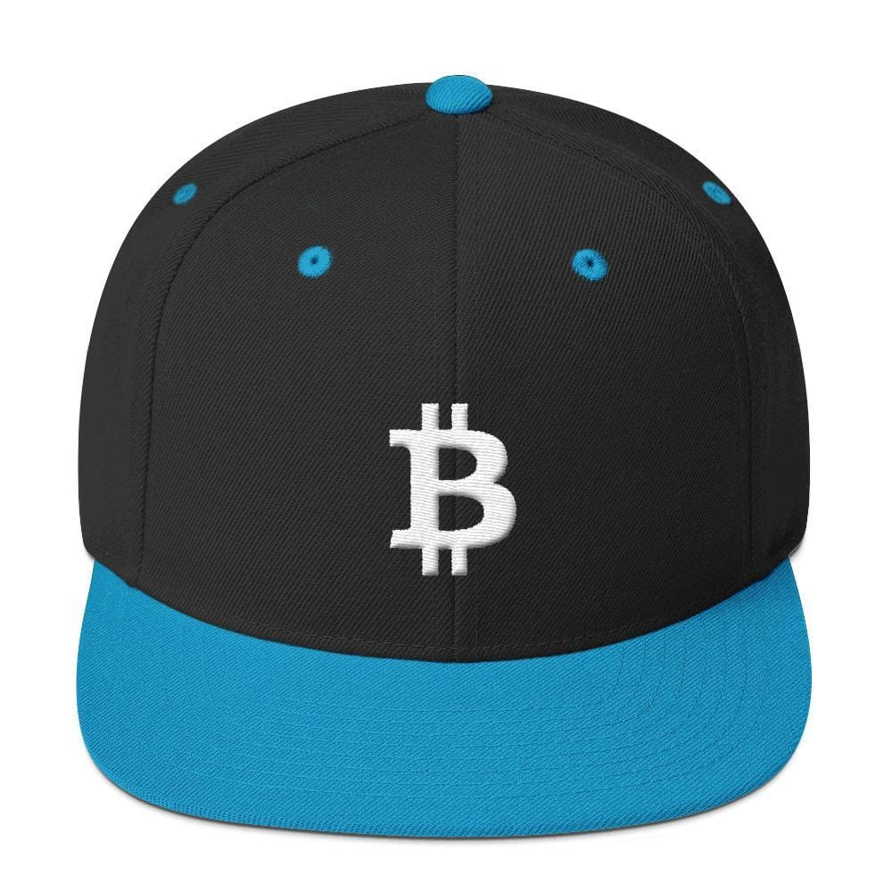 White Bitcoin Symbol Snapback Hat-Black/ Teal-CryptoClothe