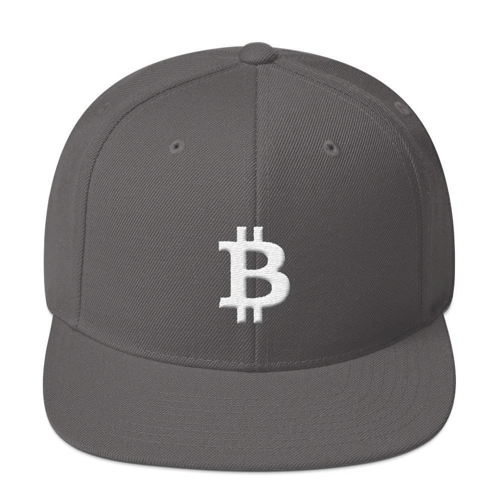 White Bitcoin Symbol Snapback Hat-Dark Grey-CryptoClothe
