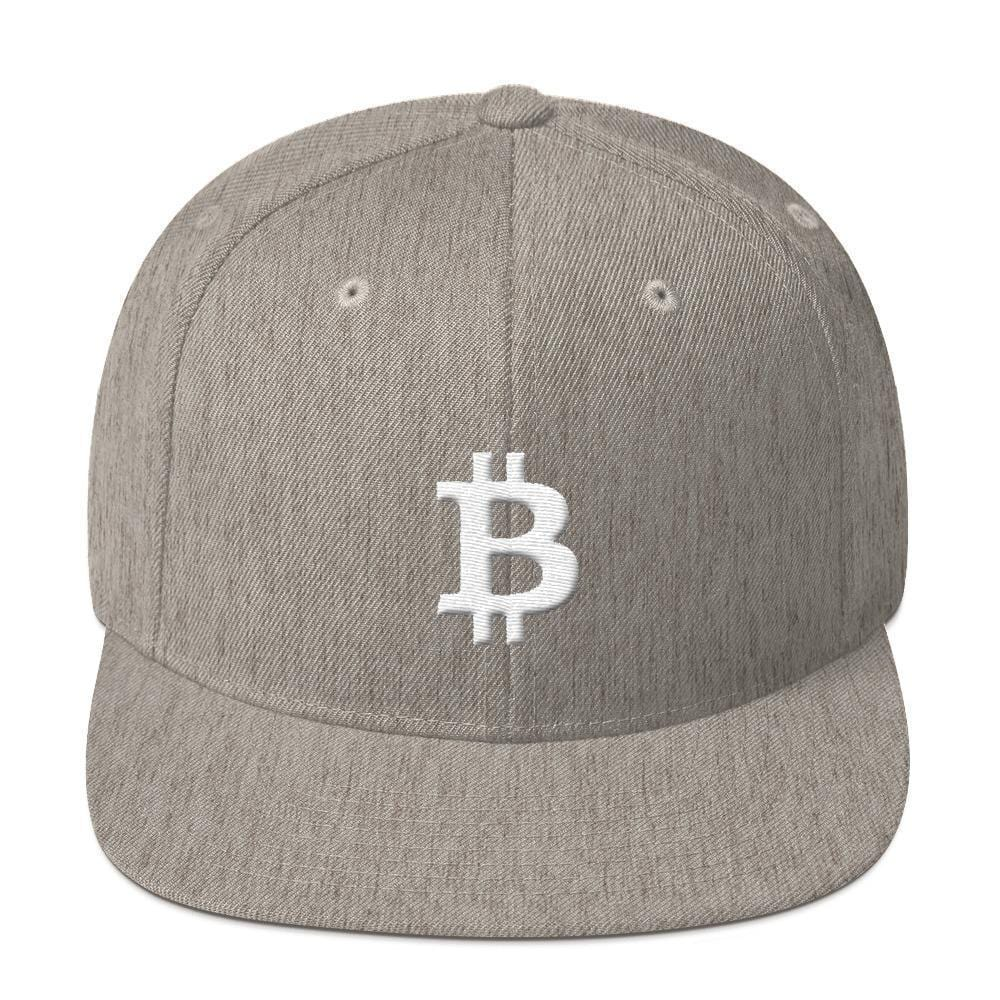 White Bitcoin Symbol Snapback Hat-Heather Grey-CryptoClothe