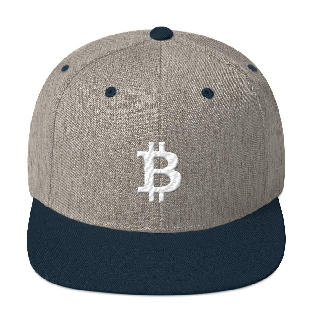 White Bitcoin Symbol Snapback Hat-Heather Grey/ Navy-CryptoClothe