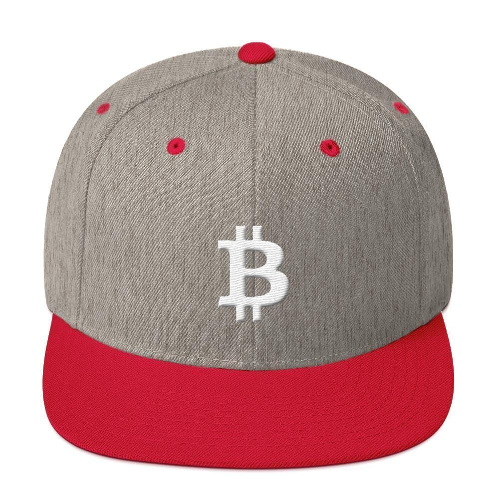 White Bitcoin Symbol Snapback Hat-Heather Grey/ Red-CryptoClothe