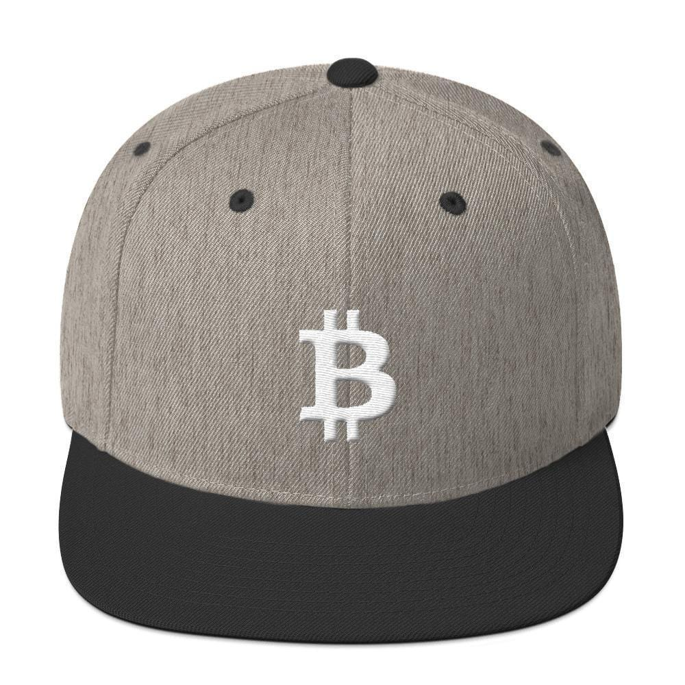 White Bitcoin Symbol Snapback Hat-Heather/Black-CryptoClothe