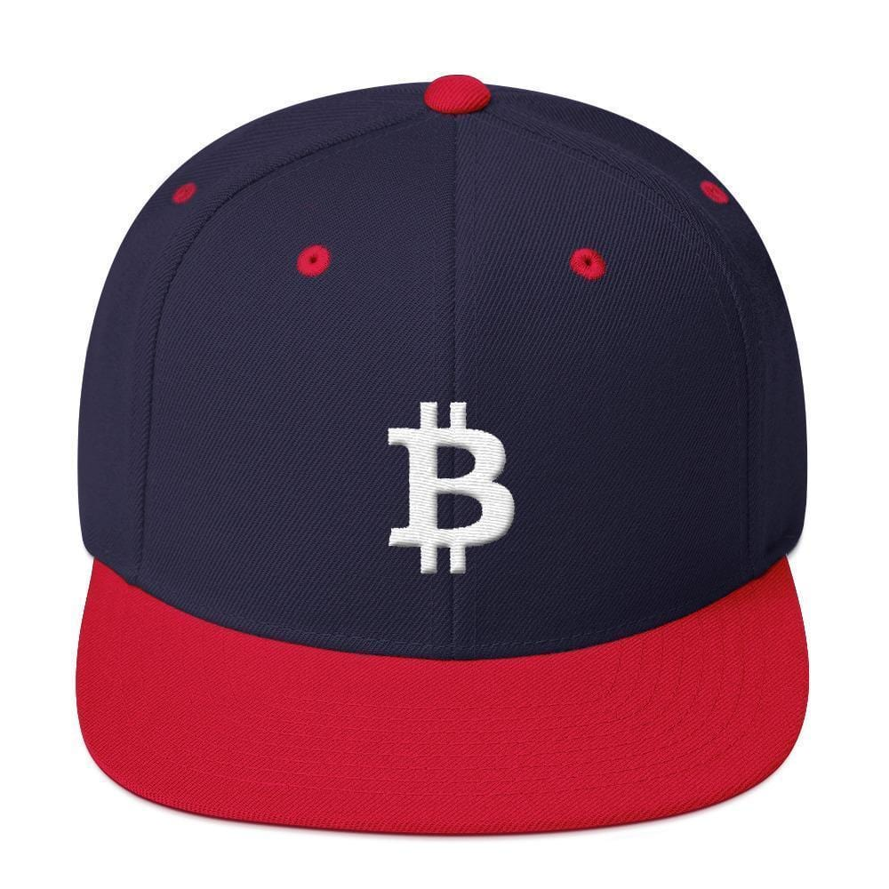 White Bitcoin Symbol Snapback Hat-Navy/ Red-CryptoClothe