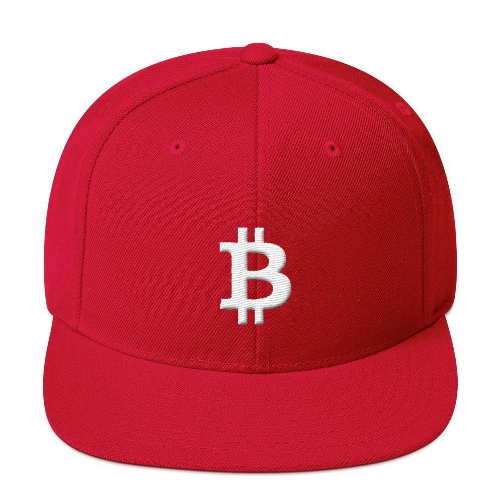 White Bitcoin Symbol Snapback Hat-Red-CryptoClothe