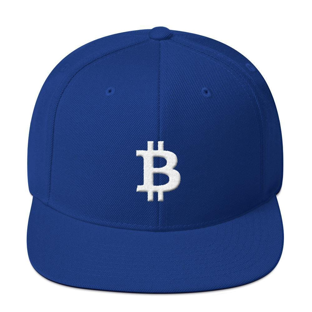 White Bitcoin Symbol Snapback Hat-Royal Blue-CryptoClothe