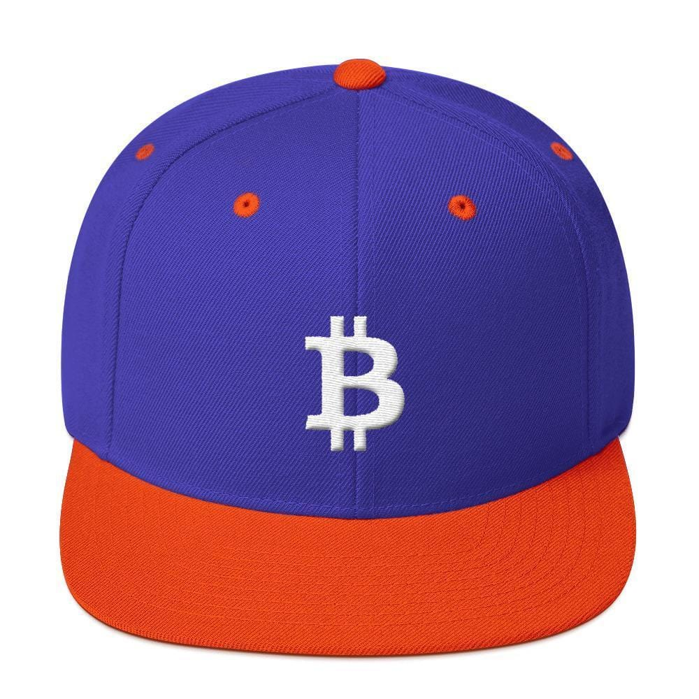 White Bitcoin Symbol Snapback Hat-Royal/ Orange-CryptoClothe