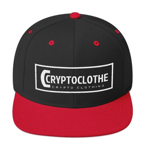 White CryptoClothe Logo Snapback Hat-Black/ Red-CryptoClothe