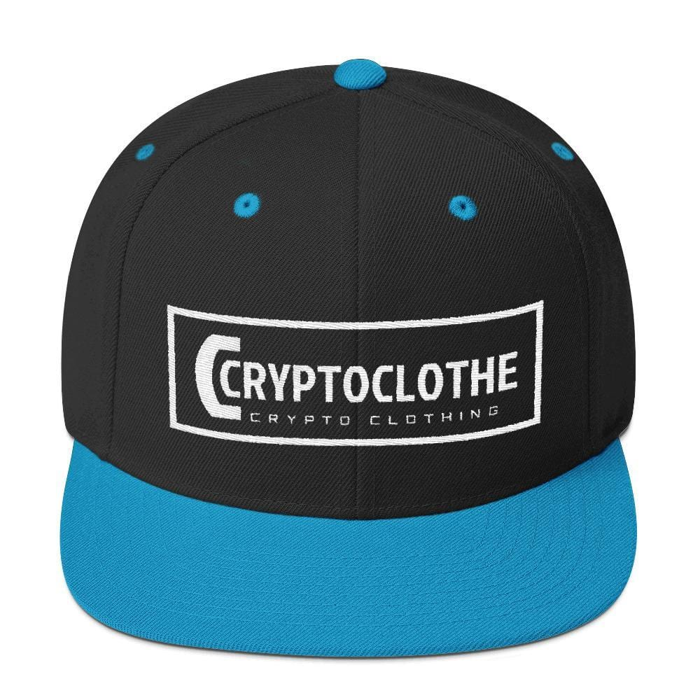 White CryptoClothe Logo Snapback Hat-Black/ Teal-CryptoClothe