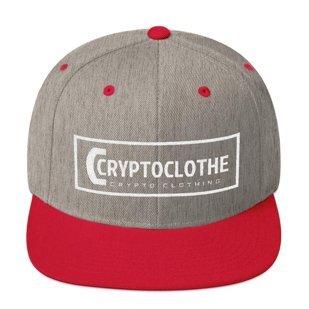 White CryptoClothe Logo Snapback Hat-Heather Grey/ Red-CryptoClothe