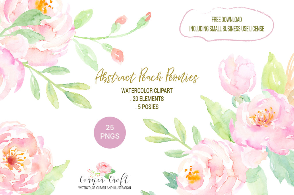 Free Download Watercolor Clipart Peach Peonies