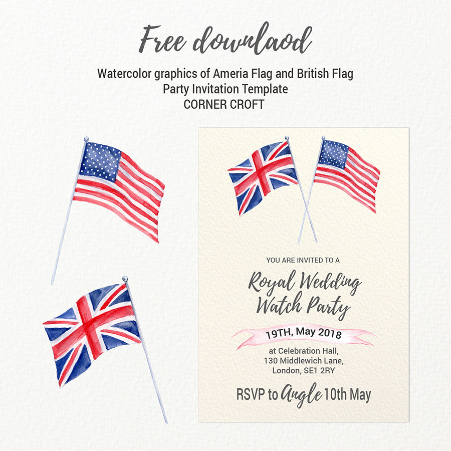 watercolor America flag, Union Jack flag, royal wedding party template