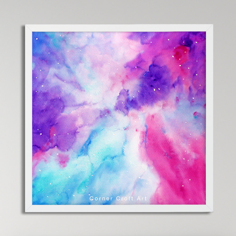 watercolor abstract galaxy, space print, instant download