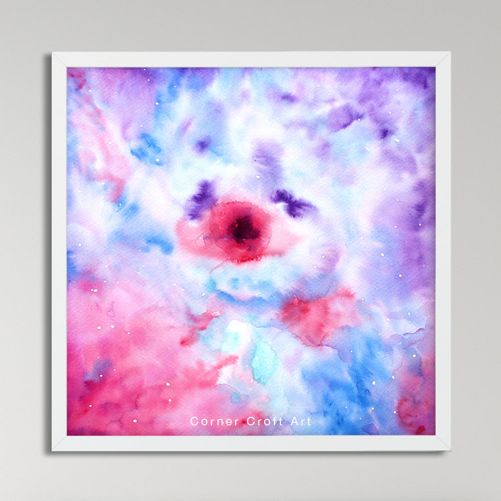 watercolor landscape painting abstract galaxy, eye of galaxy