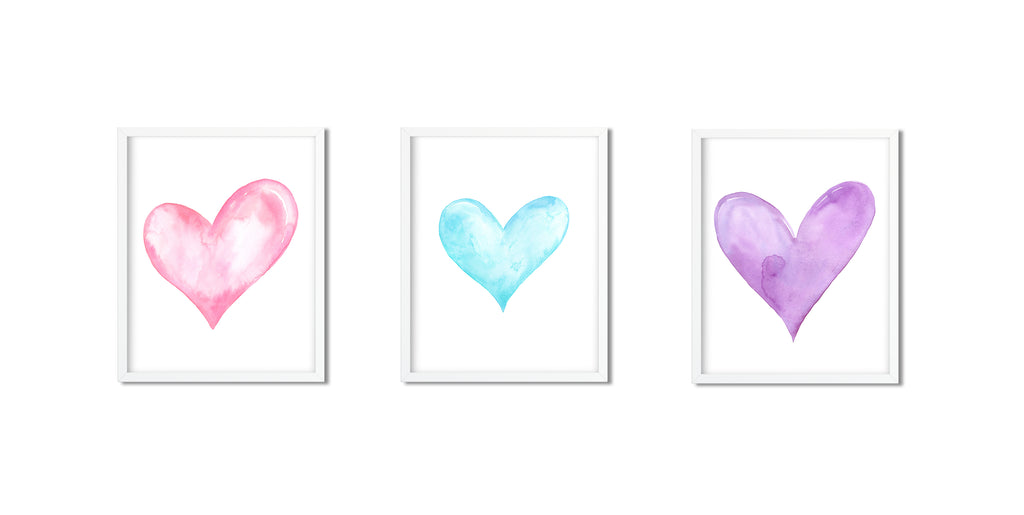 Watercolor heart print, blue, pink and Purple Hearts, valentine hearts, instant download