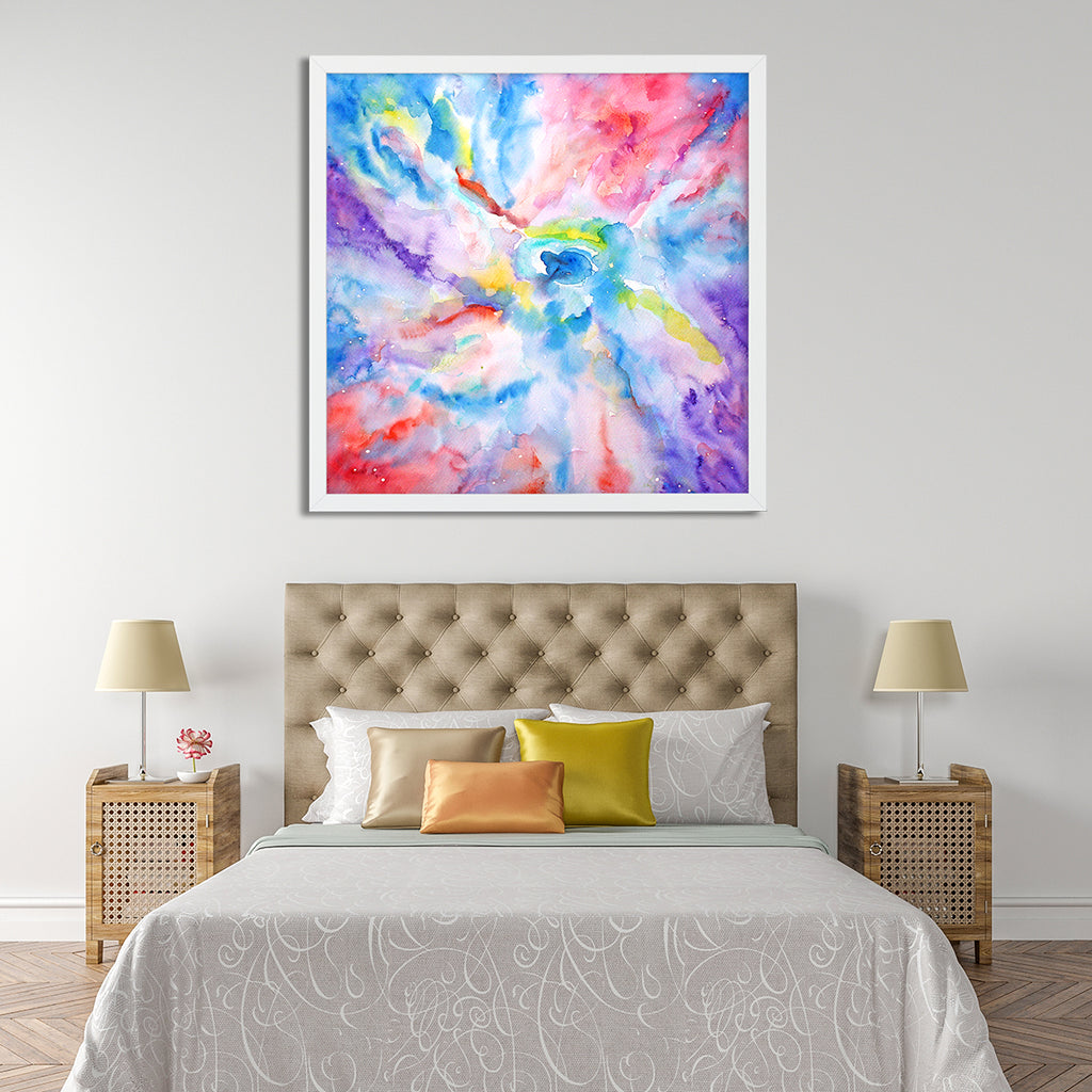 colourful watercolor painting of abstract space galaxy, instant download