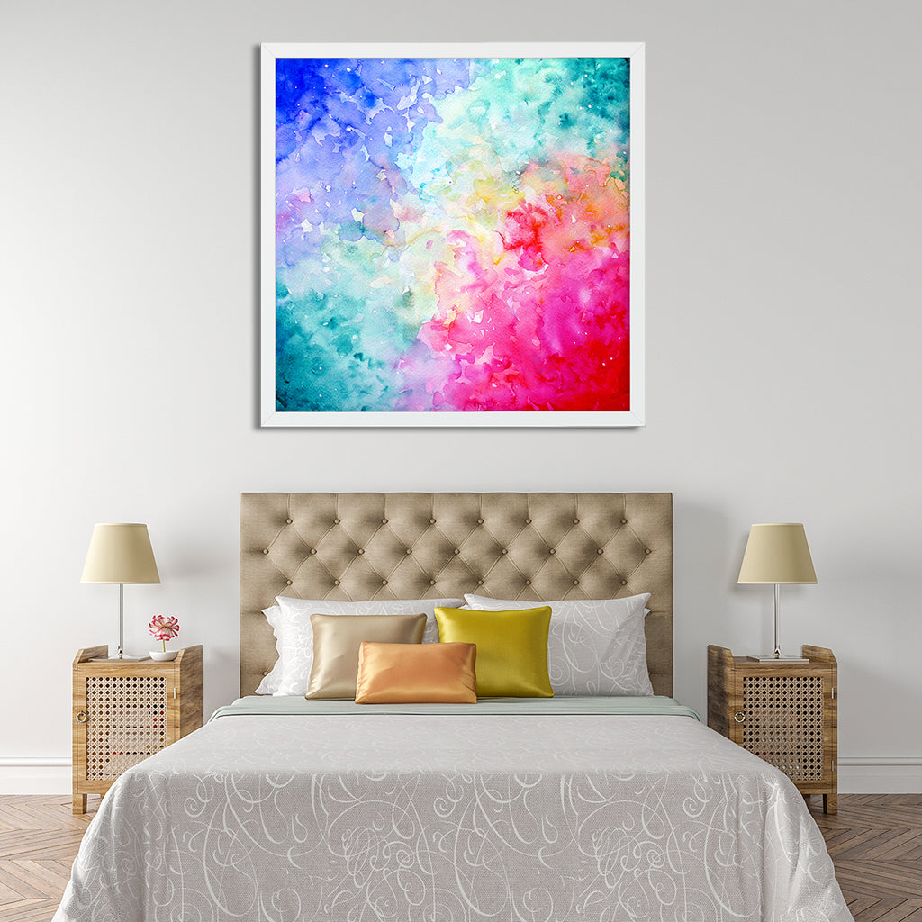 watercolor painting abstract sky, bright blue and purple art