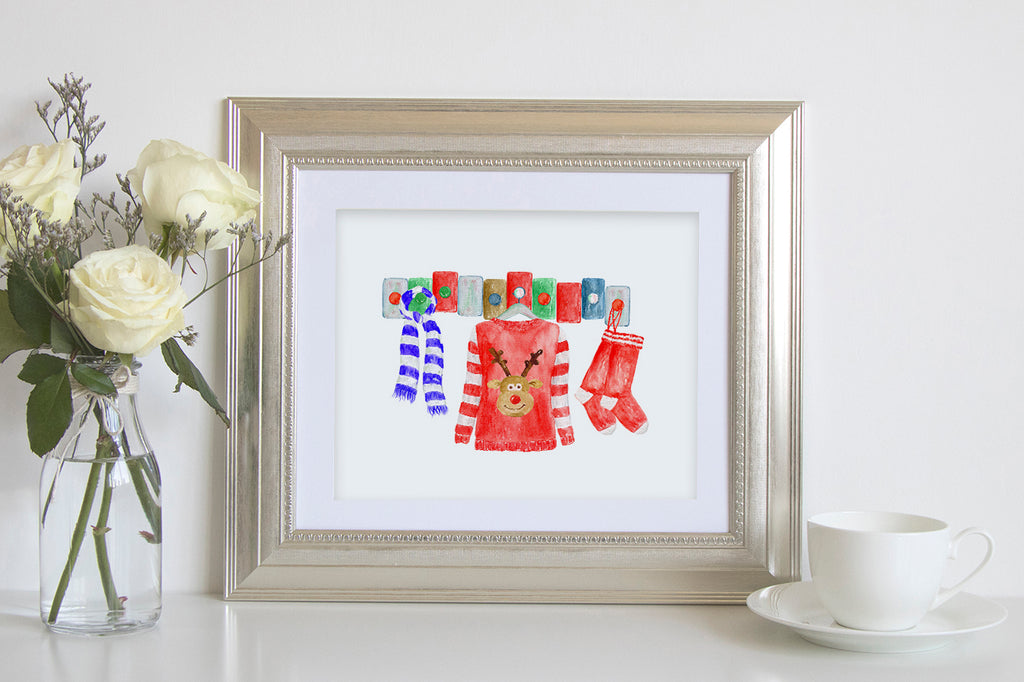 watercolor Christmas wooly jumper personalised print creator, instant download