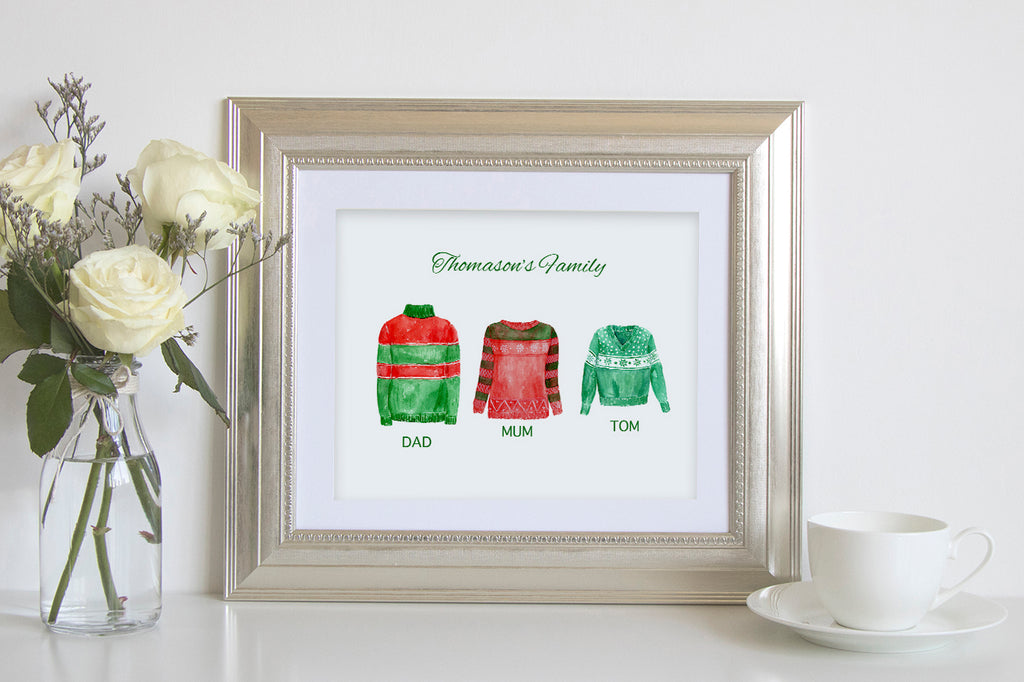 watercolor Christmas jumper personalised print instant download