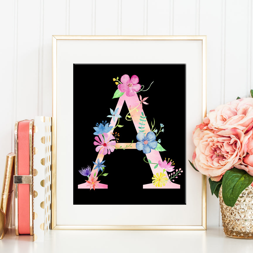 pink flower alphabet A printable, instant download, watercolour floral letter a