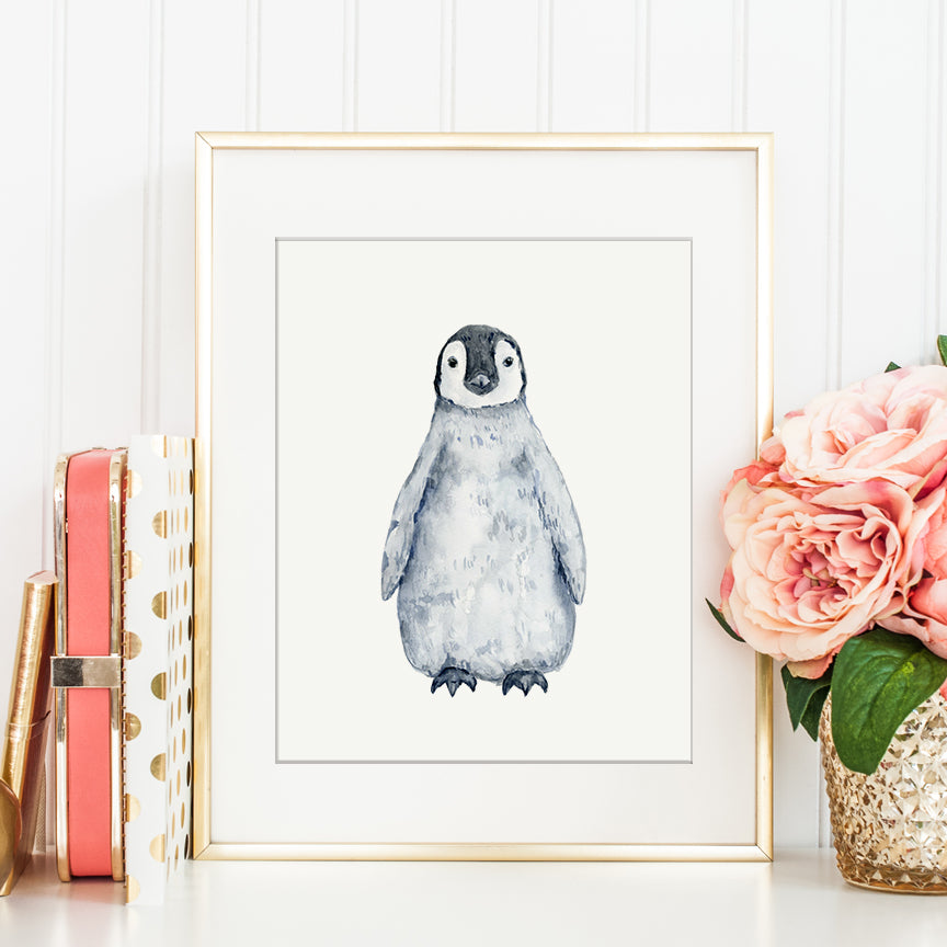 watercolor baby penguin illustration