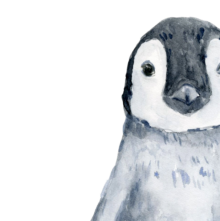 watercolor penguin check, animal illustration, printable
