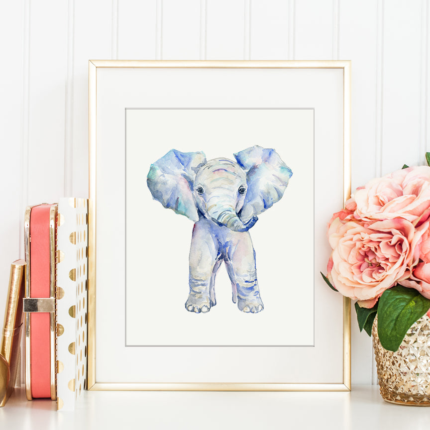 Watercolor baby elephant, young element, cute animal, wildlife