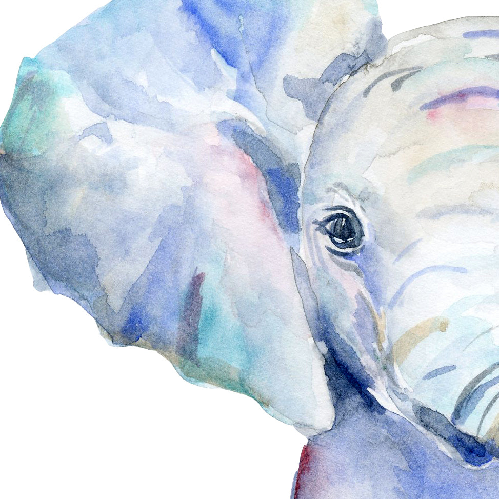 hand painted watercolor baby element, instant download, blue elephant