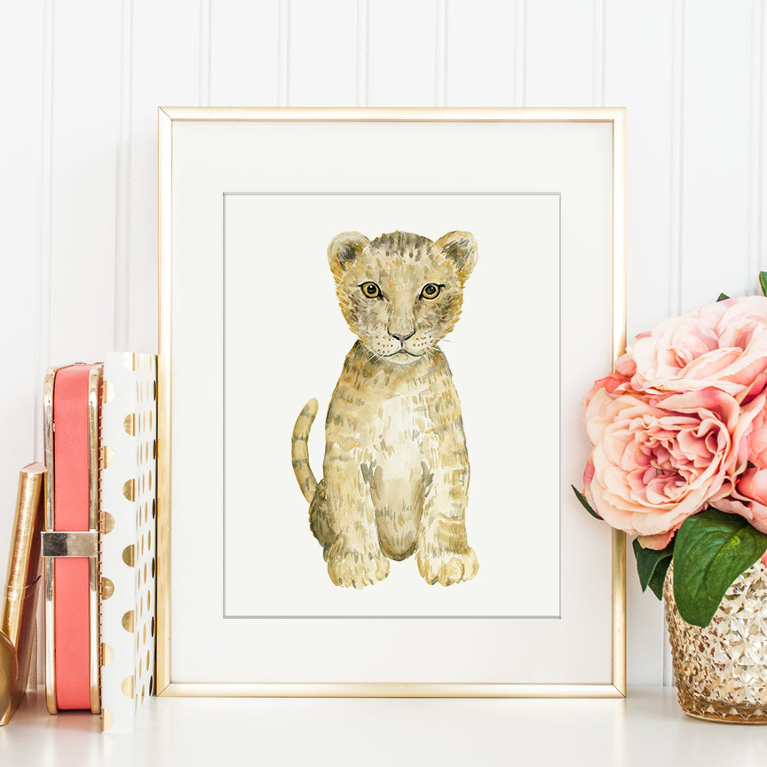 hand painted watercolor illustration of a lion cub, cute baby lion, realistic illustration