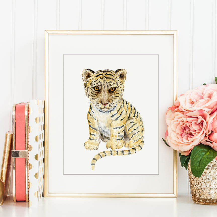 watercolor illustration of a young tiger cub, wild life, cute animal