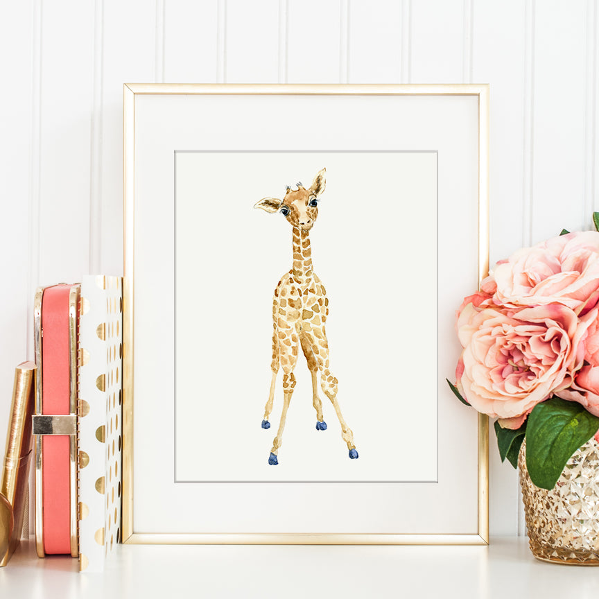 watercolor baby giraffe illustration, detailed giraffe calf, nursery print