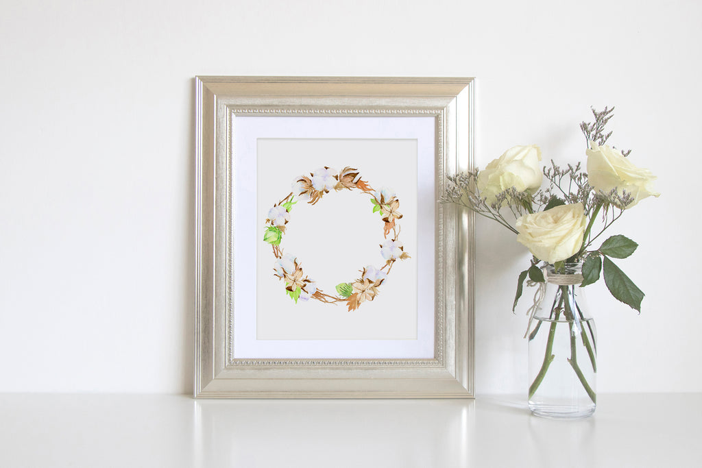 cotton boll wreath, watercolor illustration, instant download