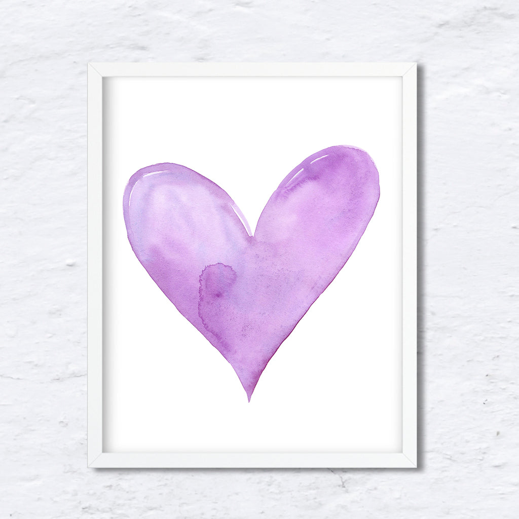 watercolor heart, valentine heart, Purple Heart, abstract heart, digital download.