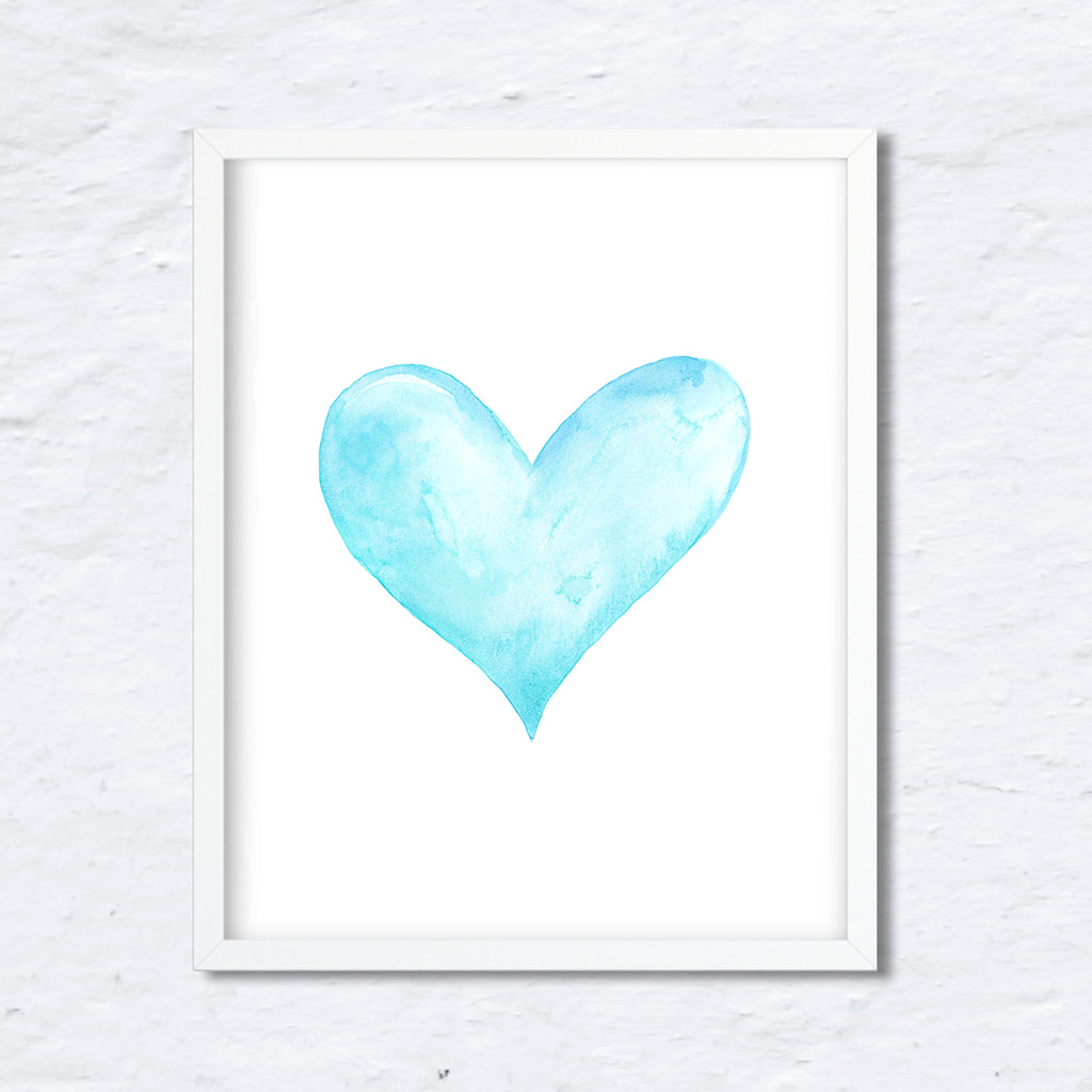 watercolor heart print, blue heart, valentine heart, turquoise heart, digital download