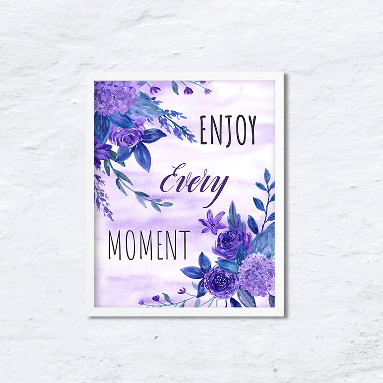 typography enjoy every moment, quote, purple background, purple flower, ultra violet flowers