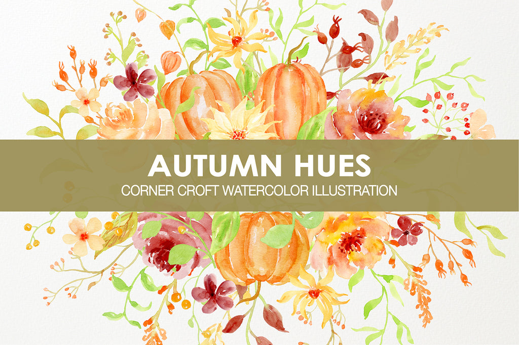Watercolor autumn clipart, pumpkins, peony, rose, daisy, fall clipart