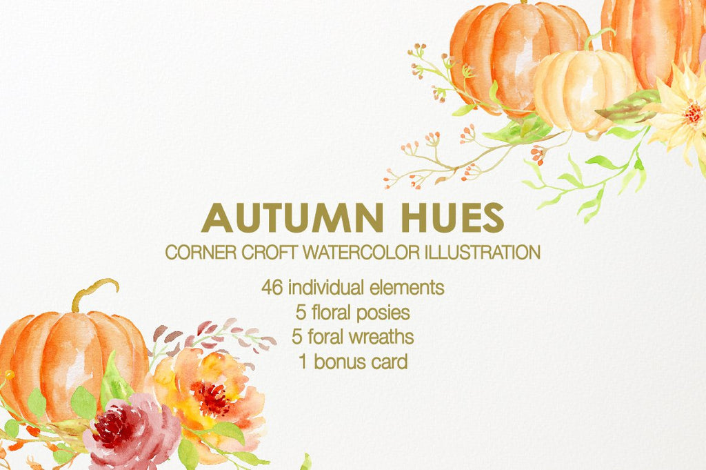 Watercolor clipart autumn hues, fall illustration, gold flowers, yellow flower red flowers