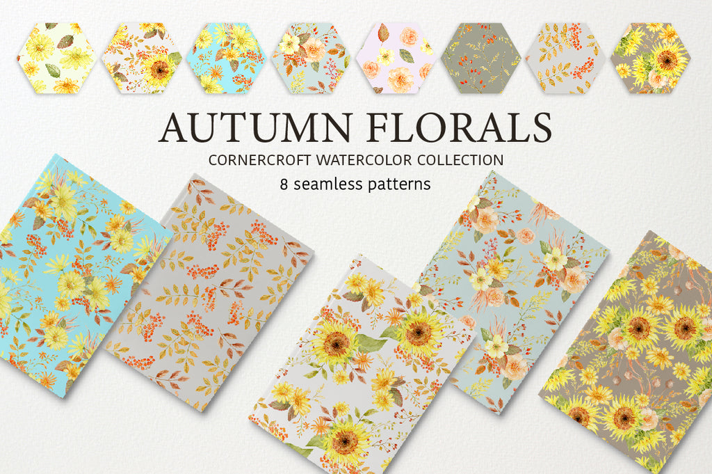 watercolor autumn florals. seamless pattern, digital paper, floral digital paper