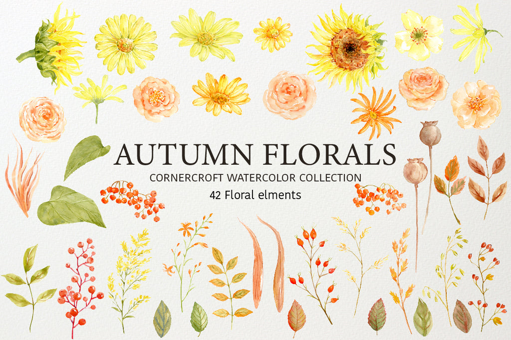 watercolor clipart autumn florals, autumn color, fall flower clipart, sunflower, rose, yellow flower, orange floral instant download