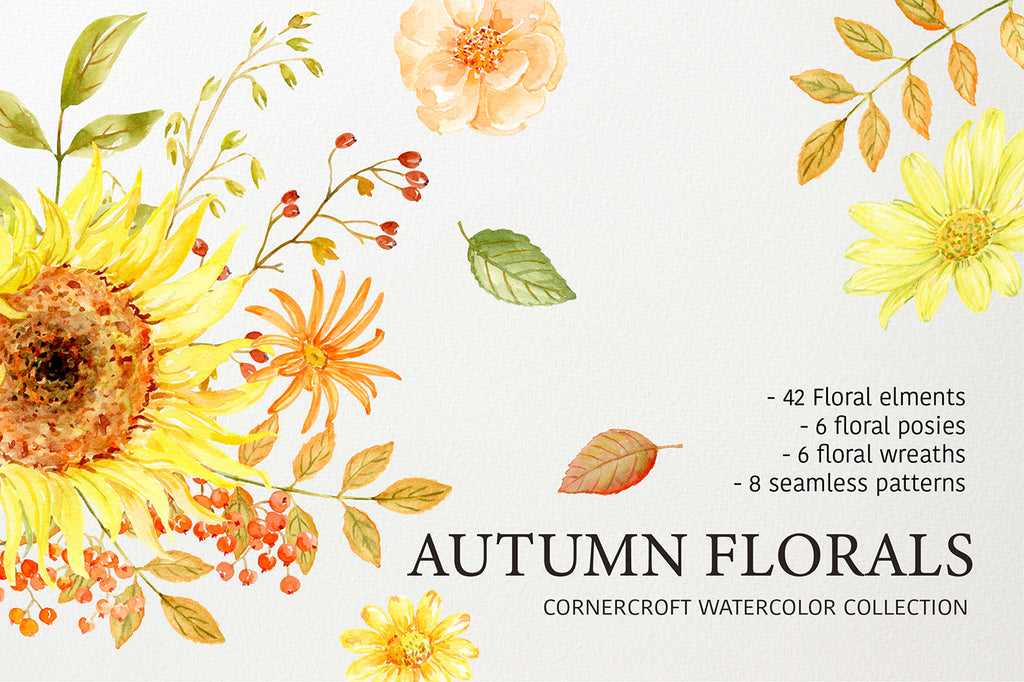watercolor clipart autumn florals. watercolor collection, sunflower, rose, berry, daisy, instant download